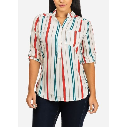 Roll Up Sleeve Button Up V Neckline Stripe Top Konga Online Shopping