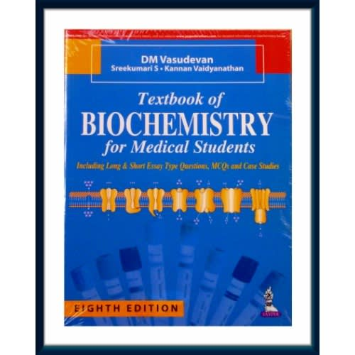Textbook Of Biochemistry For Medical Students By Dm Vasudevan  Paperback