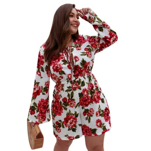 9975fb06b09 Dear Lover Plus Size Floral Playsuit .