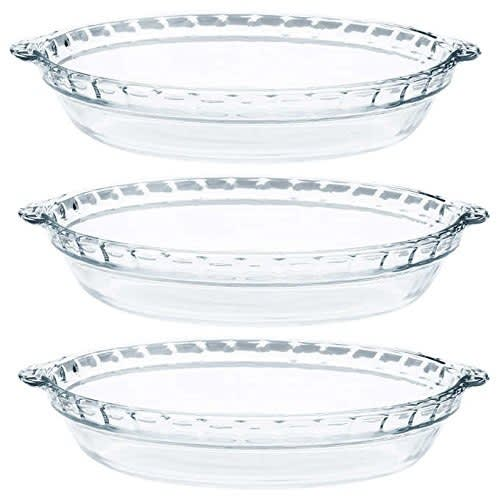 Glass Pie Plates - 3 Pack ( 9.5 Inchex X 1.5 Inches)
