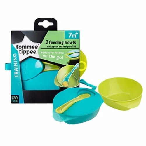Tommee Tippee Explora Easy Scoop Weaning Bowls with Leakproof Lid /& Spoon 2 Pack