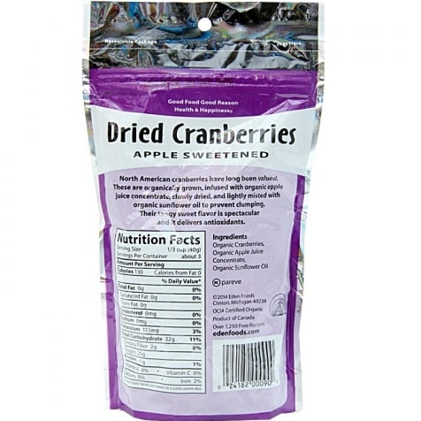 Eden Foods Organic Dried Cranberries Sweetened with Apple Juice - 4 oz