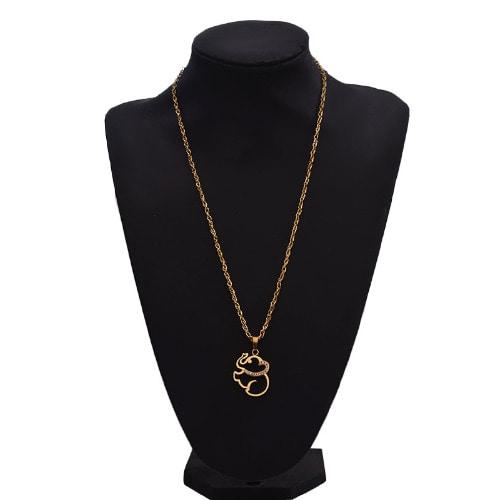 Elephant Rhinestone Pendant with Necklace - Gold