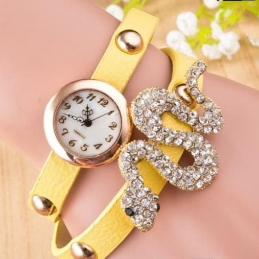 Embedded Diamond Snake Shaped Bracelet Watch