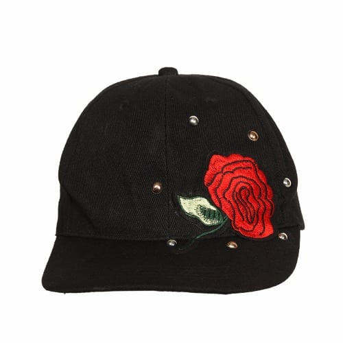06c06c07c Embroidered Studded Floral Face Cap - Black
