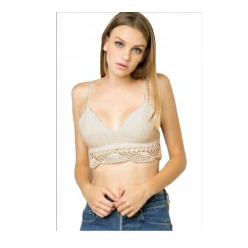 432ae0dca8 Emfed Khaki Crochet Cami Bralette Top - White