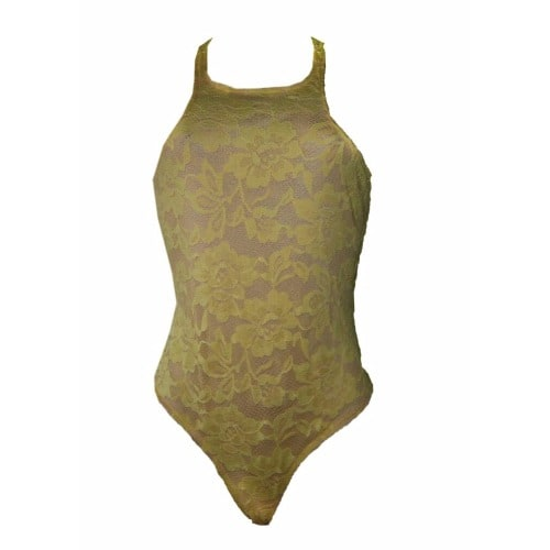 Emfed Lace Nude Illusion Bodysuit - Yellow  7e914f6d1