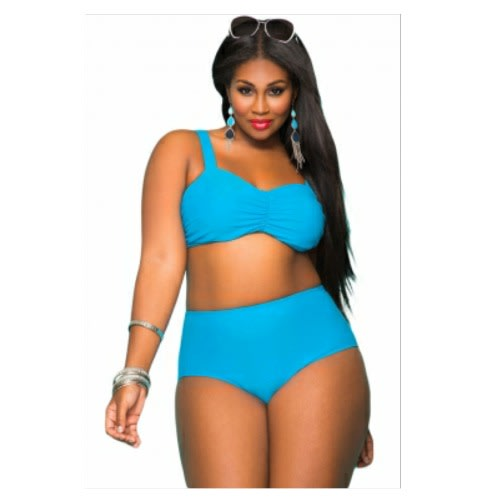 Emfed Plus Size High Waist Bikini Swimsuit - Blue