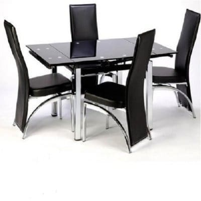 Extending Glass Dining Table With 4 Chairs Black