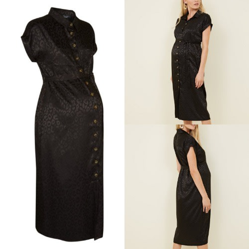 Jacquard Print Black Maternity Shirt Dress