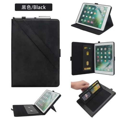 Leather Cards Holder Case With Apple Pencil Holder For iPad Pro 12.9 2018 - Black