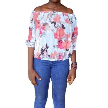 5f561074552212 April Clothing Floral Chiffon Off Shoulder Top