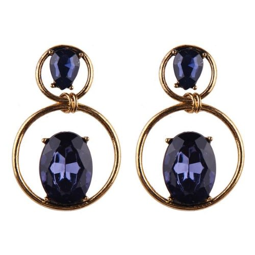 Hoop With Stone Earrings - Dark Blue.