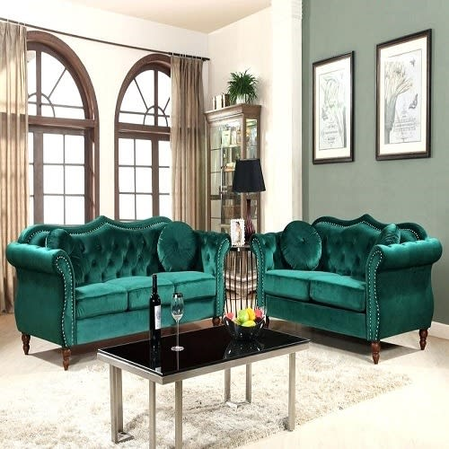 Astounding Tuffed Accent 5 Seater Sofa Set Green Unemploymentrelief Wooden Chair Designs For Living Room Unemploymentrelieforg