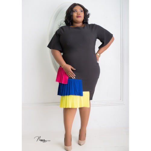 Muna Plus Size Dress - Pink, Blue & Lemon