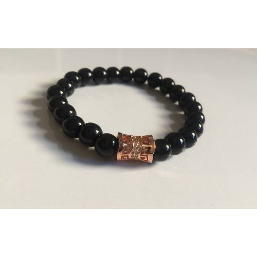 Stylish Elastic Beaded Men's Bracelet- Black