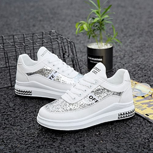 7aa325d8a1 White Alluring Ladies Sneakers