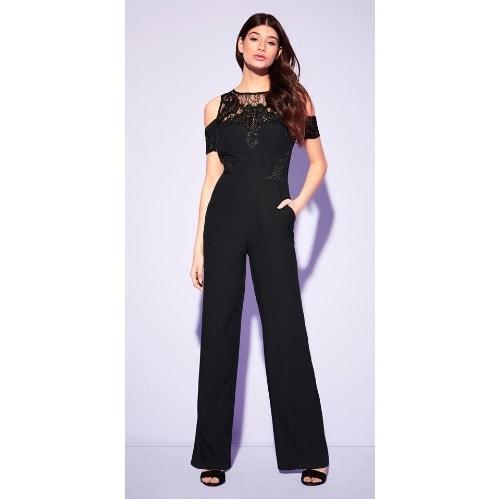 0e24ff623a8abd Lipsy London Black Lace Cold Shoulder Jumpsuit   Konga Online Shopping