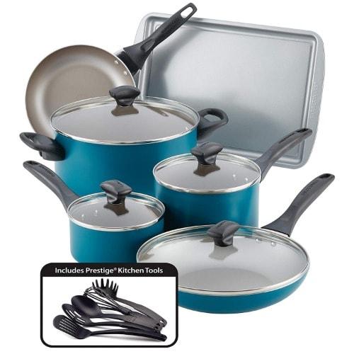 Dishwasher Safe Nonstick Cookware Set, Teal, 15-piece