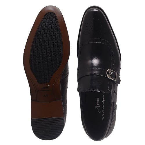 Men's Leather Slip On Shoe With Buckle - Black - MSH-4406