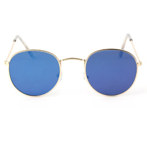def1cddee40 Retro Round Metal Sunglasses -Blue