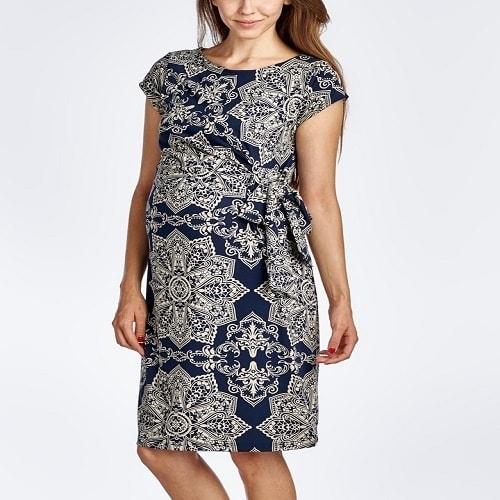 117f9f6c7e0 Hello Miz Floral Maternity Cap-Sleeve Dress - Navy Blue