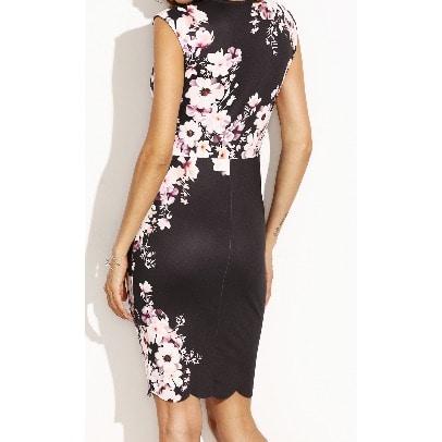 7ab2ff5a0b387b ...  F l Flower-Print-Scalloped-Sheath-Dress-7253117