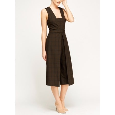 Formal Check Grid Cape Jumpsuit Brown Konga Online Shopping
