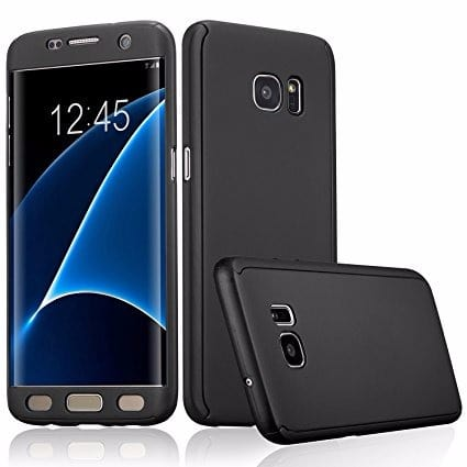 Full Back Cover with Screen Protector for Samsung Galaxy S7 Edge - Black