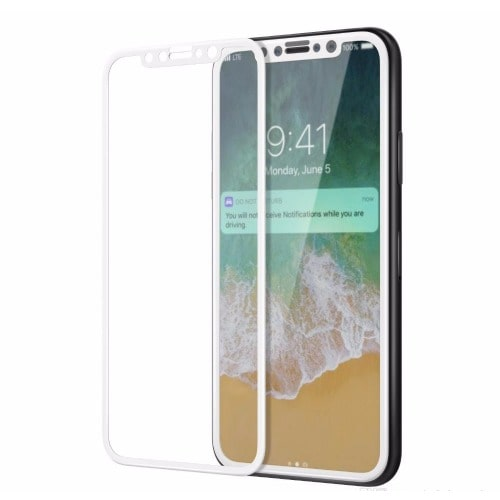 low priced a6372 f2ea0 Full Cover 3D Glass Screen Protector For iPhone X - White
