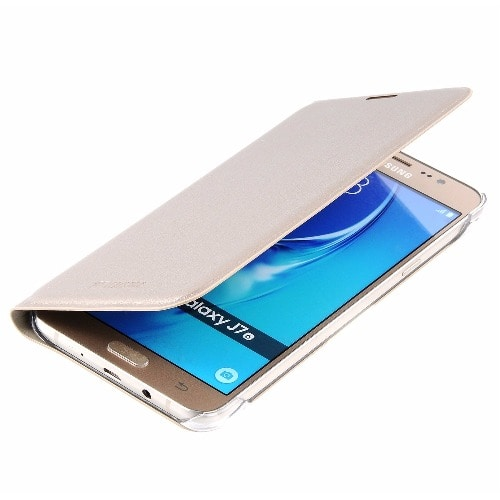 best service 037fc f23f0 Full Flip Leather Case For Samsung Galaxy J7 Prime - Gold