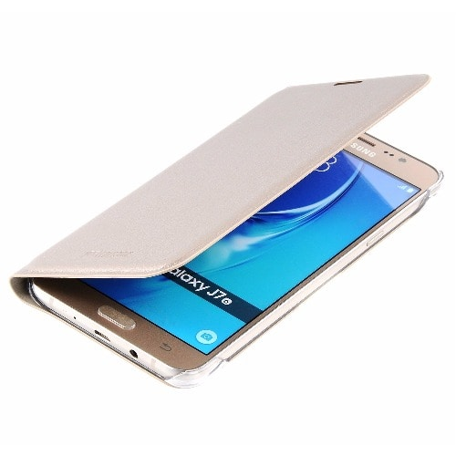 superior quality 7f4ef f72b6 Full Flip Leather Case For Samsung Galaxy J710 -2016- Gold