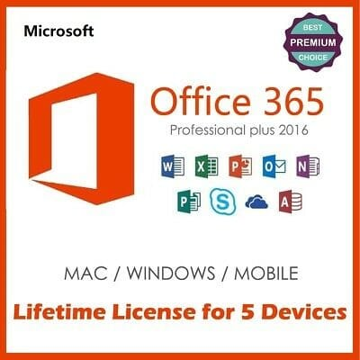 Office 365 Pro Plus - Lifetime Account Subscription - 5 Devices - 5tb  Onedrive