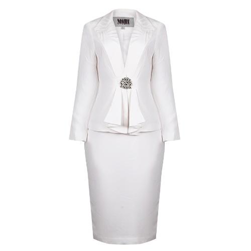 9d24ec924c1 Embellished Button Pleated Jacket Midi Skirt Suit - White   Konga ...