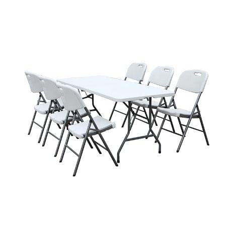 Pleasant Plastic Folding Table Rectangular 6 Chairs 6Ft White Spiritservingveterans Wood Chair Design Ideas Spiritservingveteransorg