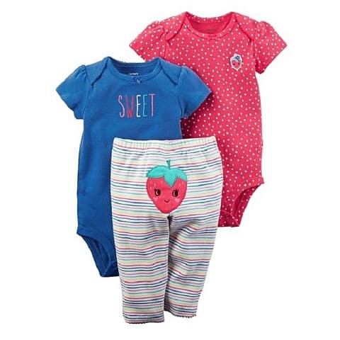 7ed8cb9ce Carter's Baby Girl Bodysuits And Matching Strawberry Pant 3 Set- Pink