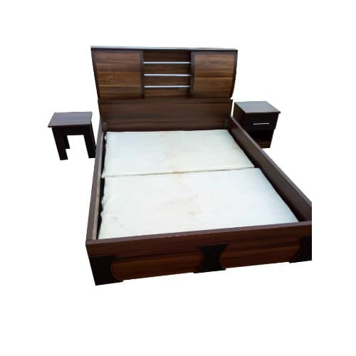 4.5 Ft By 6ft Mdf One Bed Side-bed Frame With Free Side Stool + Quality Bed Spread