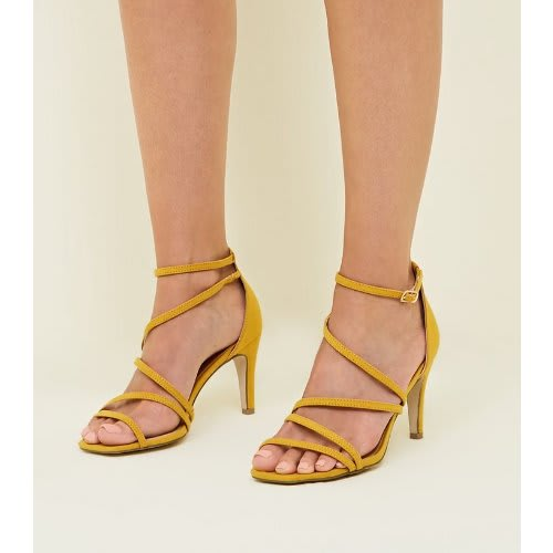 super service how to buy cheap for sale Wide Fit Mustard Strappy Low Heel Ladies Sandals