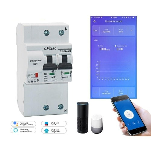 The Second Generation 2p Wifi Smart Circuit Breaker With Energy Monitoring