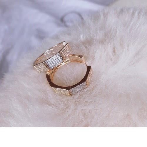 c50927a7fa5eb Vintage Hexagon Shape Gold Plated Hoops Earrings