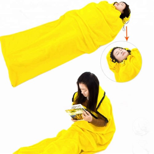 Fleece Sleeping Bag For Camping Hiking Travel - Yellow