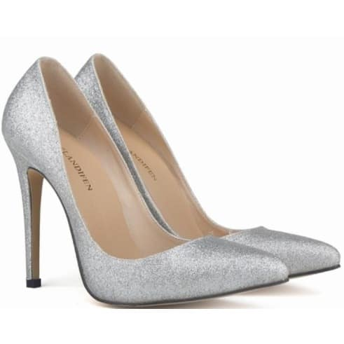 Silver Bridal High Heeled Shallow Mouth Shoe