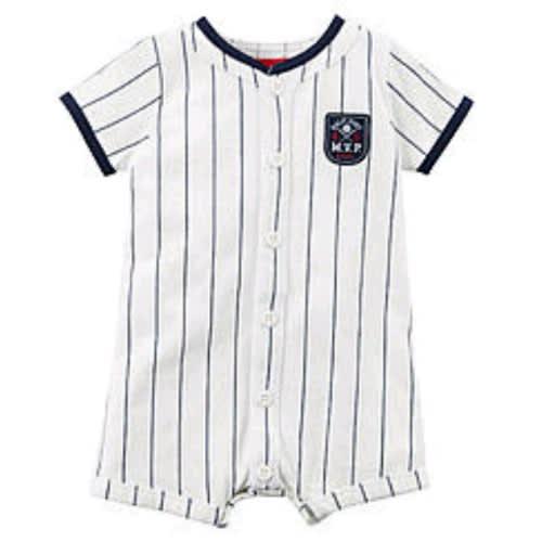 White Baseball Mvp Baby Boy Romper