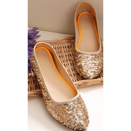 536a9bb7e5d1 Fashion Woman Ladies Flat Shoe- Gold