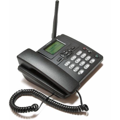 GSM Sim Card Desk Phone With FM Radio - Black