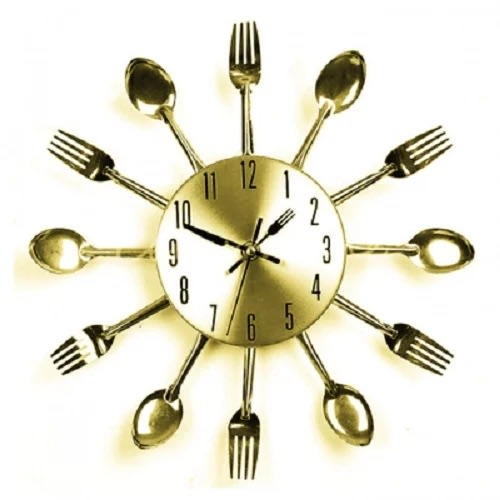 Groovy Kitchen Dining Cutlery Clock Gold Home Interior And Landscaping Transignezvosmurscom
