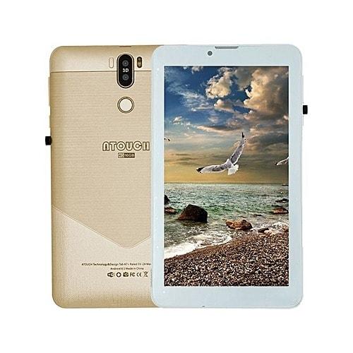 """Kid Tablet – Dual Sim - 7"""" - 4G Network - 16GB ROM - Wifi - Dual Camera + Powerbank - Gold."""