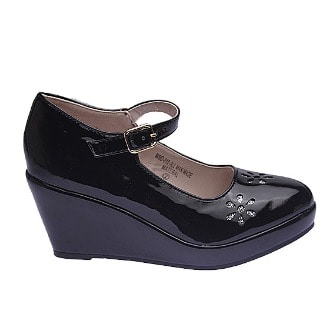 4fc855a3be2 Girl's Patent Ankle Strap Patent Wedge Shoes - Black