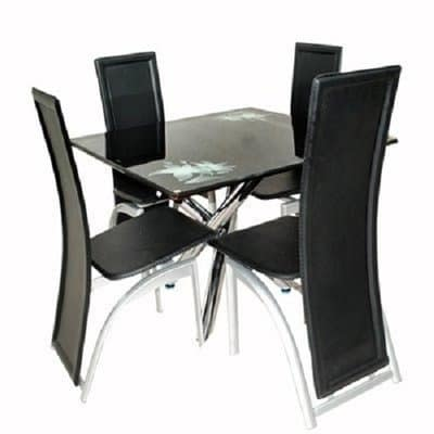 John Cutter Creation Glass Dining Table, Round Glass Dining Table With Four Chairs