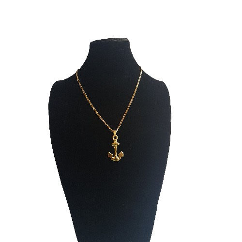 3befabe4a2a02 Gold Plated Anchor Pendant and Necklace